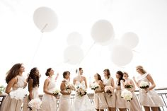 Love this shot of the maids and the balloons! Photography by christinechangphoto.com