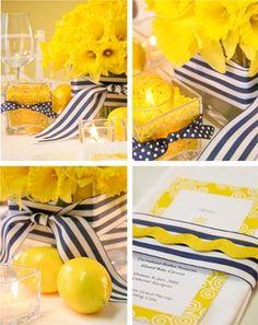 Highland Beach Holiday Inn, FL: Summer wedding colors are here! What a great way to tie in a nautical theme with summer. Nautical Wedding Centerpieces, Diy Centerpieces, Summer Wedding Colors, Yellow Wedding, Baby Shower, Bridal Shower, Wedding Color Pallet, Dusty Rose Color, Harvest Decorations