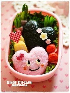 hearty heart riceball bento ♥ Bento