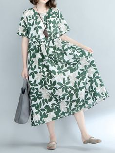Casual dresses under 50 dollars women casual floral printed high waist short sleeve o-neck summer dress #1 #piece #casual #dresses #casual #dresses #at #nordstrom #casual #dresses #pakistani #casual #homecoming #dresses