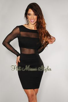 Black Mesh Inserts Long Sleeves Dress