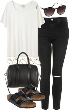 styleselection: outfit with birkenstocks by im-emma featuring black jeans