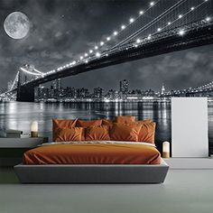 Brooklyn Bridge New York Skyline Cityscape Wall Mural Travel Photo Wallpaper available in 8 Sizes Gigantic Digital -- Read more  at the image link.