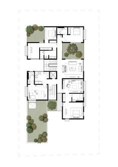Box House,First Floor Plan Best House Plans, Modern House Plans, Small House Plans, Modern House Design, House Floor Plans, Craftsman Floor Plans, Architectural Floor Plans, Casa Patio, Courtyard House Plans