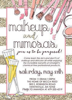 Makeup Consultant Party invitation: perfect for Limelight, Mary Kay, Lipsense or any other