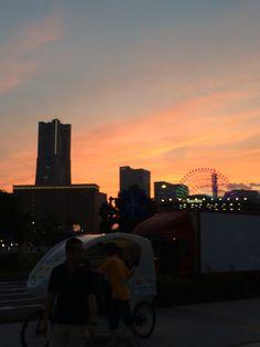赤レンガ倉庫での夕焼け