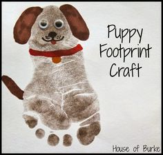 12 Kids Crafts for Dog Lovers: Puppy Print Craft Kids Crafts, Daycare Crafts, Dog Crafts, Animal Crafts, Summer Crafts, Baby Crafts, Cute Crafts, Toddler Crafts, Projects For Kids