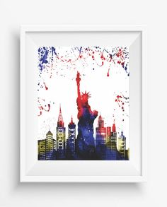 Silhouette New york city ,new york art,new york decor, Statue of Liberty ,Watercolor,new york art,digital prints,home decor,office decor,