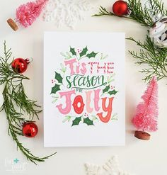 Tis the season to be jolly! Add a little seasonal decor with this fun holiday art print. + art print on fine linen 80 paper + all artwork is hand drawn by Lindsay Hopkins + size options + and prints are carefully packaged with st Illustration Noel, Winter Illustration, Christmas Illustration, Christmas Mood, Christmas Design, Holiday Fun, Merry Christmas, Christmas Patterns, Holiday Ideas