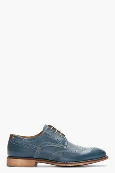 TIGER OF SWEDEN Blue Leather Clyde 02 Wingtip Brogues