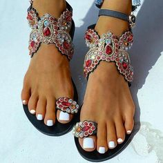 Floral Sandals, Black Sandals, Ankle Strap Flats, Strap Heels, Casual Rings, Trend Fashion, Women's Fashion, Fashion Online, Rhinestone Shoes