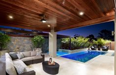 Having a pool sounds awesome especially if you are working with the best backyard pool landscaping ideas there is. How you design a proper backyard with a pool matters. Indoor Outdoor Living, Outdoor Areas, Outdoor Rooms, Alfresco Area, Patio Interior, Pool Houses, Pool Designs, New Homes, Luxury Furniture