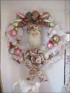 xmas wreath victorian santa