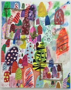 Alicia Gibson's charmingly messy abstraction revels in the possibilities of nail decoration and personal expression in 'Nail Polishing Club remix.' Gumdrops, hats and very celebratory tombstones come to mind in this riotous appreciation of a female art. (In 'X' at Lyles & King Gallery through Aug 12th). Alicia Gibson, Nail Polishing Club remix, oil, ink, spray paint, and burlap on canvas, 60 x 48 inches, 2016.