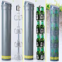 BIERSAFE: Outdoor / Garten Erdloch Bier Kühler, Beer safe cooler / Rohr / Kühlschrank ohne Strom, Bar-Gadget! Das innere, hochwertige Biersafe-Getränke-Gestell aus Metall & Alu fasst 4x4 = 16 Halbliter-Flaschen, das sind 8 Liter.