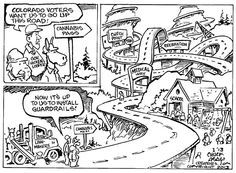 I STRONGLY agree with this cartoon. Legalizing it is only the first step; there should be restrictions on its recreational use so that those who have no business with it have no access to the substance. It seems to be extremely fair. There is nothing that ridicules anyone involved (governor Hicken Looper, the political parties etc.). It seems to sum up what needs to be done about marijuana fairly well.