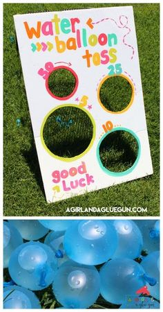 Water balloon toss-fun summer game - A girl and a glue gun, This post may contain affiliate links. This is a fun game I whipped up for a little party! Kid's love water balloons…but if you don't give them someth. Water Birthday Parties, Carnival Birthday Parties, School Carnival, 4th Birthday, Turtle Birthday, Turtle Party, Birthday Balloons, Beach Ball Birthday, Mermaid Birthday