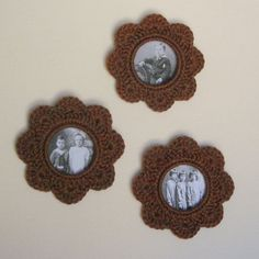 Tilled earth. Set of 3 crochet picture frames by acheerychicken, $15.00