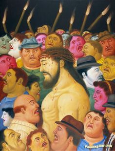 Jesus And The Crowd Artwork by Fernando Botero Hand-painted and Art Prints on canvas for sale,you can custom the size and frame