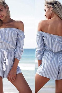 Off The Shoulder Striped Jumpsuit Summer Shorts Jump Suit Sexy Jumpsuits E103