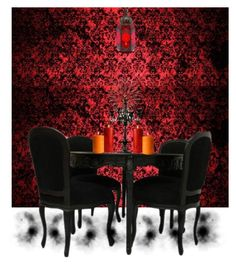 """""""Dinner At Dracula's"""" by rubysal ❤ liked on Polyvore featuring interior, interiors, interior design, home, home decor, interior decorating, gothic and Dracula"""