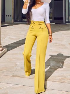 Stylish Buttoned High Waist Wide Leg Pants - love the style Jean. Yellow Pants Outfit, Wide Pants Outfit, Women's Pants, Blue Pants, White Pants, Best Business Casual Outfits, Fashion Pants, Fashion Outfits, High Wasted Jeans