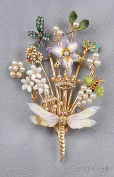 Enamel, Seed Pearl, and Gem-set Stickpin Brooch.