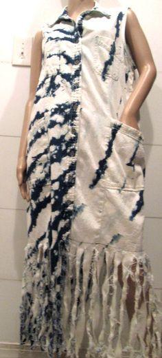 Denim Dress. Tie Dye Denim Dress.  Fringe by MISSVINTAGE5000