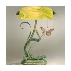 Favrile Accents Dragonfly Bankers Lamp in Verde Green Bankers Lamp, Antique Lamps, Light Up, Home Improvement, Table Lamps, Antiques, Green, Home Decor, House
