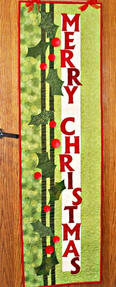 Merry Christmas Banner from Nancy Halvorsen& Christmas book, Tidings - I have this pattern! Christmas Patchwork, Christmas Sewing, Christmas Books, Christmas Crafts, Christmas Quilting, Small Quilts, Mini Quilts, Skinny Quilts, Christmas Wall Hangings