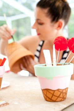These Waffle Cone Ice Cream Painted Flower Pots will totally satisfy that DIY sweet tooth... and they don't take long to craft either! Perfect for an ice cream party, summer decor, ice cream social and more.