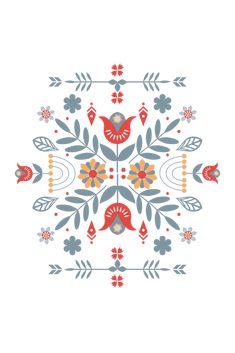 Scandinavian Folk Art Graphic T-shirt by Nordic Print Studio - Tri-Black - LARGE - Womens Fitted Tee Folklore, Zeina, Scandinavian Folk Art, Cute Stickers, Art Inspo, Framed Art Prints, Folk Print, Decoration, Acrylic Box