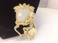 VTG. AJC GOLD TONE FLAPPER WOMAN PUTTING ON MAKEUP IN MIRROR/VANITY BROOCH~  | eBay