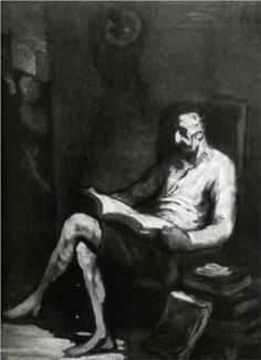 Don Quixote Reading - Honoré Daumier (1808-1879)