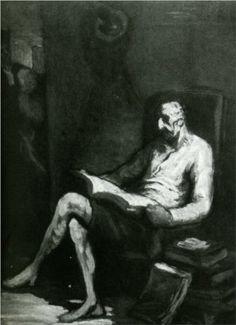 Don Quixote Reading - Honore Daumier
