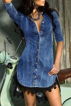 Sexy Half Sleeve Laciness Asymmetrical Denim Dress For Women