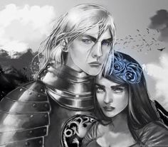 Digital painting of two characters from Game of Thrones, Rhaegar (Daenerys' brother) and Lyanna (Ned Stark's sister). Rhaegar Targaryen and Lyanna Stark Winter Is Here, Winter Is Coming, Rhaegar Y Lyanna, Jon Snow, George Rr Martin, Legends And Myths, Game Of Thrones Art, Fire Art, Valar Morghulis