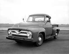 55 ford pickup   1955 Ford F-100 Pickup Truck .....used to own one of these...not as slick though