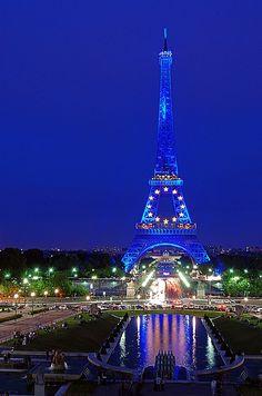 European Union stars at the Eiffel Tower, Paris, France