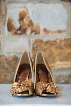 bronze bejeweled wedding shoes #weddingshoes #sparklyheels #weddingchicks http://www.weddingchicks.com/2014/04/07/playful-pink-and-navy-wedding/
