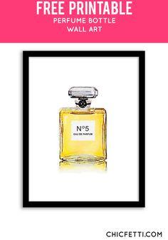 Free Printable Perfume Bottle Art from @chicfetti - easy wall art DIY