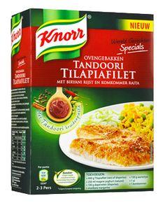 Knorr Wereldgerechten Ovengebakken Tandoori Tilapiafilet. Lekker!  Alleen is het beter om een dag tevoren te beginnen: De raita is lekkerder als hij een paar uur in de koelkast gestaan heeft. De vis doe je bevroren in een ovenschaal, bestrijkt hem met tandoori-yoghurtmengsel. Folie erover en een nachtje laten ontdooien en marineren in de koelkast.
