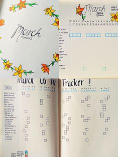 theodoraltman: setting up march in my bullet journal.{inc. title page, habit tracker and US tv tracker}