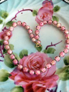 "Vintage Venetian Art Glass beaded choker/Child necklace Pink Glitter beads 14"" by Holliezhobbiez on Etsy"