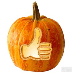 We like this pumpkin-carving design.  | Happy Halloween! | Pumpkin Carving | Fall Decor | Emoji with downloadable stencil | http://www.bhg.com/