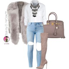 Untitled #2870 by stylebydnicole on Polyvore featuring Frank & Eileen, Le Silla and Hermès