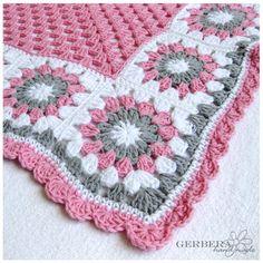 CROCHETED BABY AFGHAN Blanket gray pink and by GerberaHandmade, $70.00