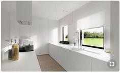 All white kitchen Kitchen Dinning, New Kitchen, Kitchen Decor, All White Kitchen, Open Plan Kitchen, The Residents, Kitchen Blinds, Interior Minimalista, Cuisines Design