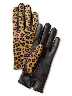 Leopard Leather Gloves