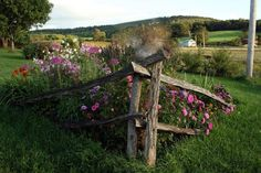 Two Men and a Little Farm: SPLIT RAIL FENCE FLOWERBED, INSPIRATION THURSDAY